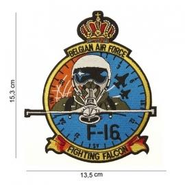 Embleem Belgian Airforce F-16 - 13,5 x 15,3 cm.