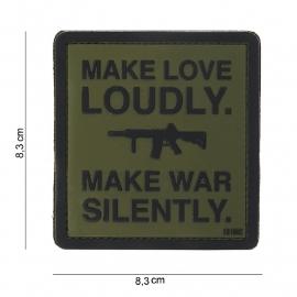 Embleem 3D PVC PVC - met klittenband -Make Love Loudly Groen - 8,3 x 8,3 cm