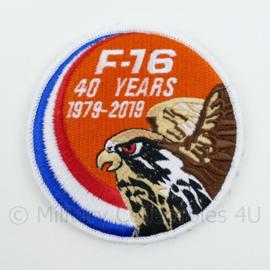 KLU Luchtmacht F16 F-16 40 years 1979-2019 embleem - met klittenband - diameter 9 cm