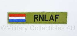 Naamlint RNLAF Royal Netherlands AirForce - met klittenband - zwart op groen - 14 x 3 cm - nieuw gemaakt