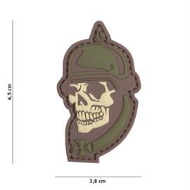 Embleem 3D PVC met klittenband - WW1 Skull - multicamo - 6,5 x 3,8 cm.
