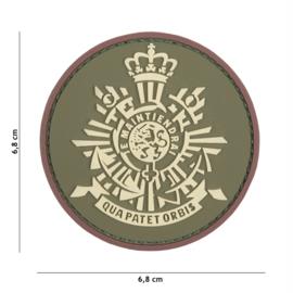 Embleem 3D PVC met klittenband - Korps Mariniers groen/coyote -  6,8 cm. diameter