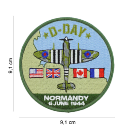 Embleem stof D-Day Normany 6 June 1944 Spitfire - 9,1 cm. diameter