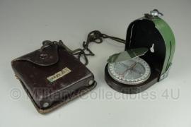Hongaars leger kompas met leren tasje  - donker bruin leer - origineel
