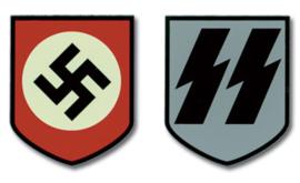 1 paar Decals Waffen en algemeine SS - vroeg model - swastika en runen
