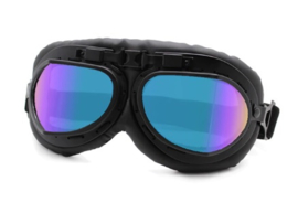 Piloten bril of brommer bril - zwart frame met gekleurde glazen