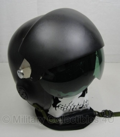 Mich piloten helm ZWART replica - dubbel visier Smoke en helder - maat Medium/Large