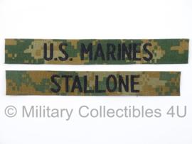 USMC US Marines 'STALLONE' branch tape/naamlint SET - marpat woodland camo - nieuw gemaakt