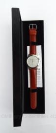 Ministerie van Financien horloge in geschenkdoos - bruin bandje - groot horloge - merk Olympic - origineel