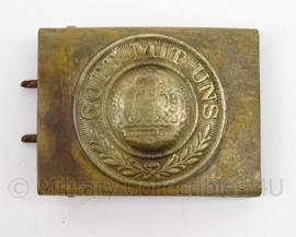 WO1 Duits Pruissisch Koppelslot - messing - Gott mit Uns met kroon - afmeting 6,5 x 5 cm - origineel