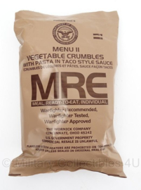 US Army MRE los rantsoen - Meal Ready to Eat - Menu 11 Vegetable Crumbles with Pasta in Taco Style Sauce - in houdbaar tot 9- 2022