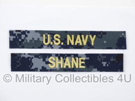 US Navy NWU 1 branch tape/naamlint SET blue/gold - Battleship Liam Neeson 'Shane' - nieuw gemaakt