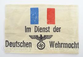 WO2 Duitse armband verouderd - Franse burgers im dienst der Deutschen Wehrmacht - afmeting 12 x 19 cm - replica