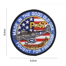 Embleem stof - P-47 Thunderbolt - diameter 9 cm