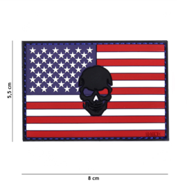 Embleem PVC 3D PVC met klittenband - Vlag USA met zwarte skull er in - 8 x 5,5 cm.