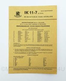 MVO instructiekaart IK11-7 - uit 1956 - memorandum voor radiotelefonie - origineel