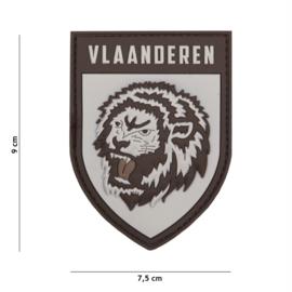 Embleem 3D PVC met klittenband - Vlaanderen Lion grey - 9 x 7,5 cm.