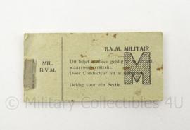 Ongebruikte Nederlands Indie militaire Bataafse vervoers Maatschappij kaartjes - zeldzaam - afmeting 3,5 x 7 cm - origineel