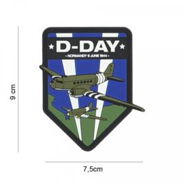 D-Day C-47 schild embleem 3D PVC - met klittenband - 9 x 7,5 cm