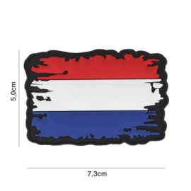 Uniform landsvlag Nederland vintage  Embleem 3D PVC PVC  - 7,3 x 5 cm.