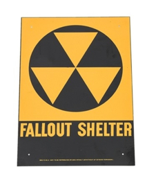 US Army Fallout Shelter bord - metaal - 28,5 x 20 cm - origineel!