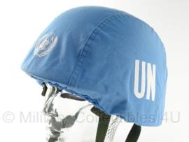 Universeel blauw helm overtrek VN UN / United Nations voor composiet helm of ballistische helm - origineel