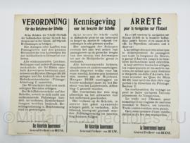 Aanpakbiljet kennisgeving voor het bevaren der Schelde het Keizerlijke Gouvernement - 16 december 1914 - Replica