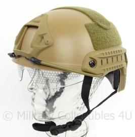 DSI en Politie model MICH 2002 helm met rails, velcro EN ingebouwde bril - COYOTE