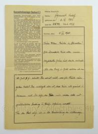 WO2 Duitse brief 1940 - konzentrationslager Dachau 3k - afmeting 30 x 21 cm - origineel
