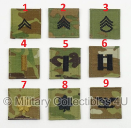 US Army multicamo rangemblemen met klittenband - voor op de borst - verschillende rangen