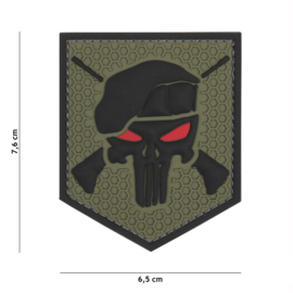 Embleem 3D PVC met klittenband - Punisher Commando Elite- 7,6 x 6,5 cm.