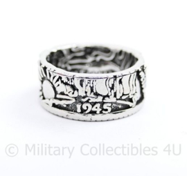 United States 1945 Half Dollar Coin Ring - maat 8, 9 of 10