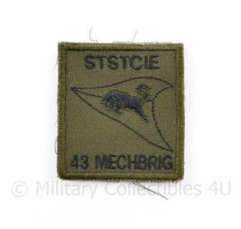 KL Nederlandse leger STSTCIE 43 MECHBRIG Staf en Stafverzorgingscompagnie 43 Gemechaniseerde Brigade borstembleem - met klittenband - 5 x 5 cm - origineel