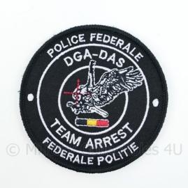 Belgische Politie Police Federale DGA DAS Team Arrest Federale Politie embleem - met klittenband - diameter 9 cm