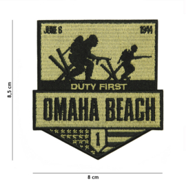Embleem stof OMAHA beach Duty First - 1st Infantry Division Big Red One  June 6 1944 - 8,5 x 8 cm.