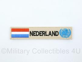 Naamlint Nederland VN UN United Nations - met klittenband - khaki - 14 x 3 cm - nieuw gemaakt