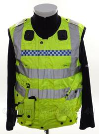 Brits Police geel reflectie vest met tasjes en portofoonhouders - size XS/S - origineel