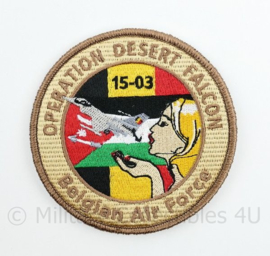 BAF Belgian Air Force Operation Desert Falcon ODF 15-03 embleem  met klittenband- 9 cm. diameter