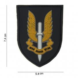 Embleem Special Forces - Who Dares Wins -  Klittenband - 3D PVC - 7,4 x 5,4 cm.