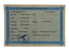 Stalag tewerkstelling - Nederlandse krijgsgevangene - Johannes van Duyvenbode Amsterdam