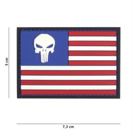 Embleem 3D PVC met klittenband - Punisher USA vlag -7,3 x 5 cm.