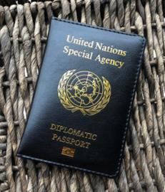 VN UN United Nations Special Agency Diplomatic Passport paspoort hoesje - ZWART - 14 x 10 cm