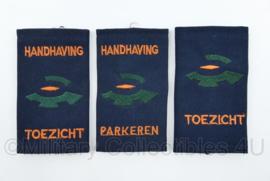 Handhaving Toezicht parkeren set van 3 enkele epauletten - 9,5 x 5,5 cm - origineel