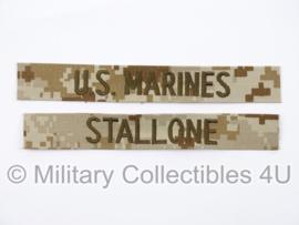 USMC US Marines 'STALLONE' branch tape/naamlint SET - marpat desert camo - nieuw gemaakt