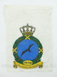 Klu Koninklijke Luchtmacht wanddoek van stof met logo 336 Squadron - 34x23 cm - origineel