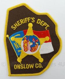 US Sheriffs Department Onslow Co embleem - afmeting 9 x 11,5 cm - origineel