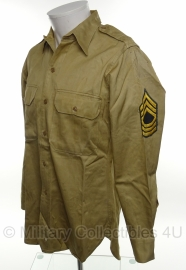US Khaki Shirt - Technical Sergeant - size 14,5 X 33 - origineel mei 1964 vietnam oorlog!