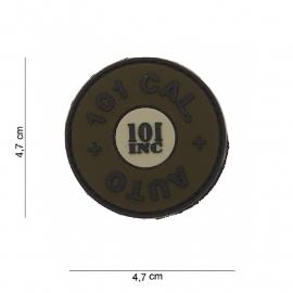 Embleem 3D PVC rond 101 cal.  Auto - klittenband - 4,7 cm. diameter - Groen