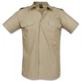 Overhemd khaki katoen glad - korte mouw
