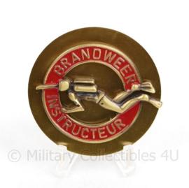 Brandweer instructeur insigne goudkleurig - diameter 5 cm  - origineel